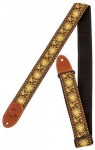 Gretsch G Brand Guitar Strap yellow_orange with brown ends 9220060102